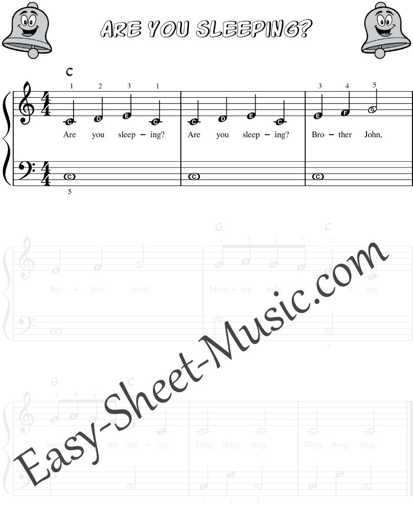 Are You Sleeping Brother John - Easy Piano Sheet Music With Letter Notes
