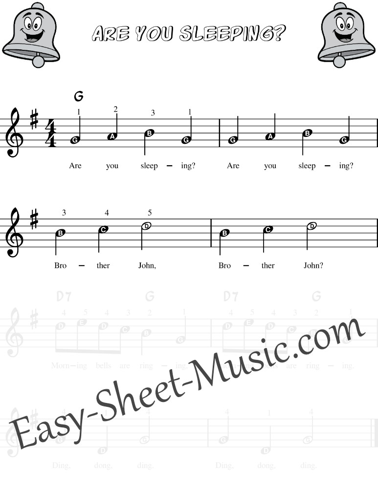 Are You Sleeping Brother John - Easy Keyboard Sheet Music With Letter Notes