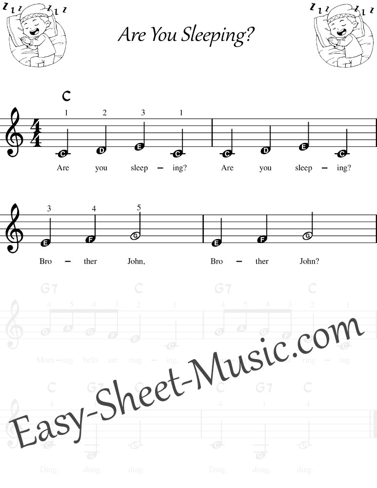 Are You Sleeping Keyboard - Easy Keyboard Sheet Music With Letters