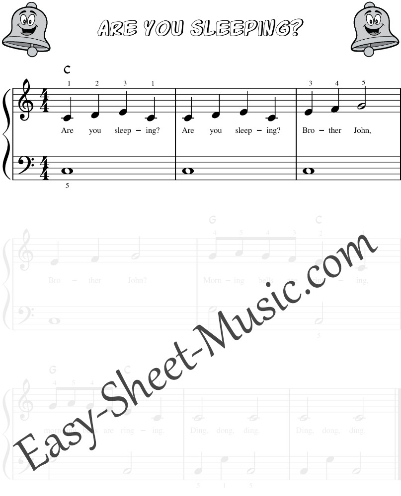 Are You Sleeping Brother John - Easy Piano Sheet Music For Kids