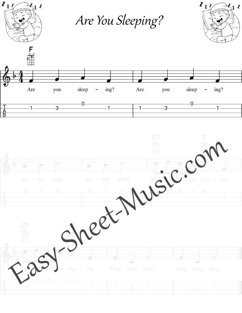 Are You Sleeping - Ukulele Sheet Music With Tabs & Chords For Beginer Kids