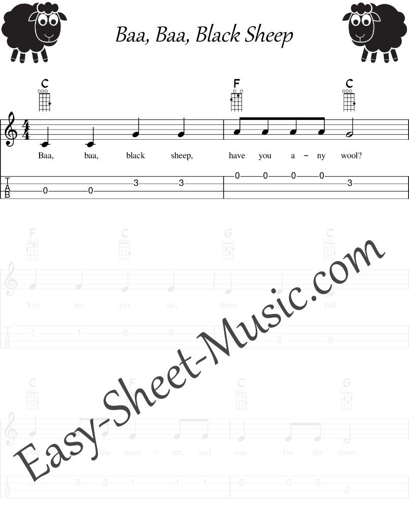 Baa, Baa, Black Sheep - Easy Ukulele Sheet Music With Tabs & Chords