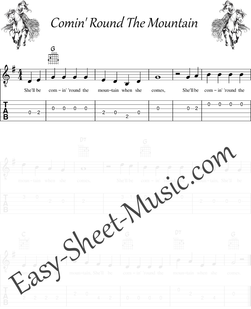Comin' Round The Mountain - Easy Guitar Sheet Music With Tabs