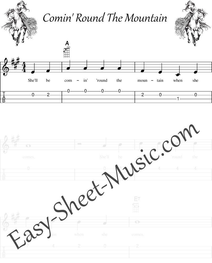She'll Be Comin' Round The Mountain - Easy Ukulele Sheet Music With Tabs