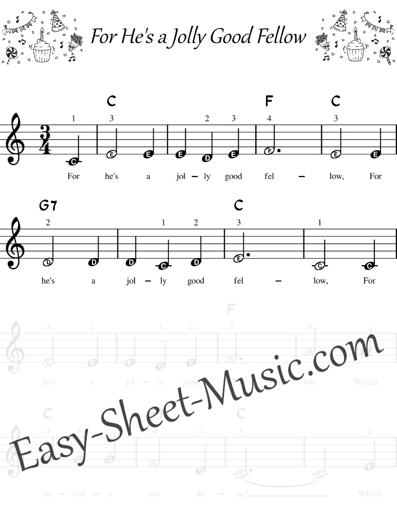 For Hes a Jolly Good Fellow - easy keyboard sheet music
