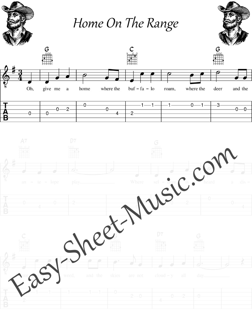 Home On The Range - Easy Guitar Sheet Music with Chords