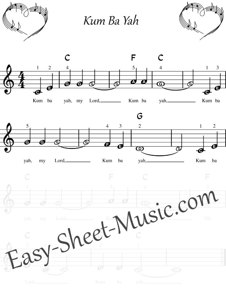 Kum Ba Yah - Easy Keyboard Sheet Music For Beginners