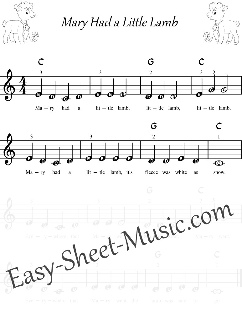 Mary Had a Little Lamb - Easy Keyboard Sheet Music With Letters And Chords