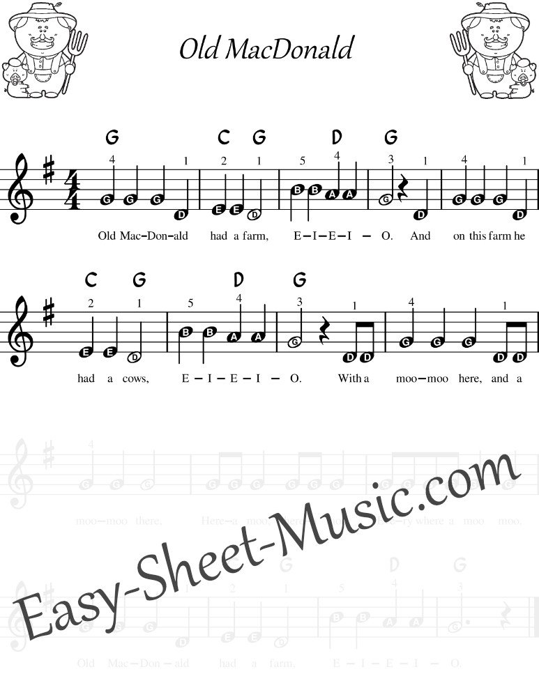 Old Mac Donald - Easy Keyboard Sheet Music With Letters And Chords