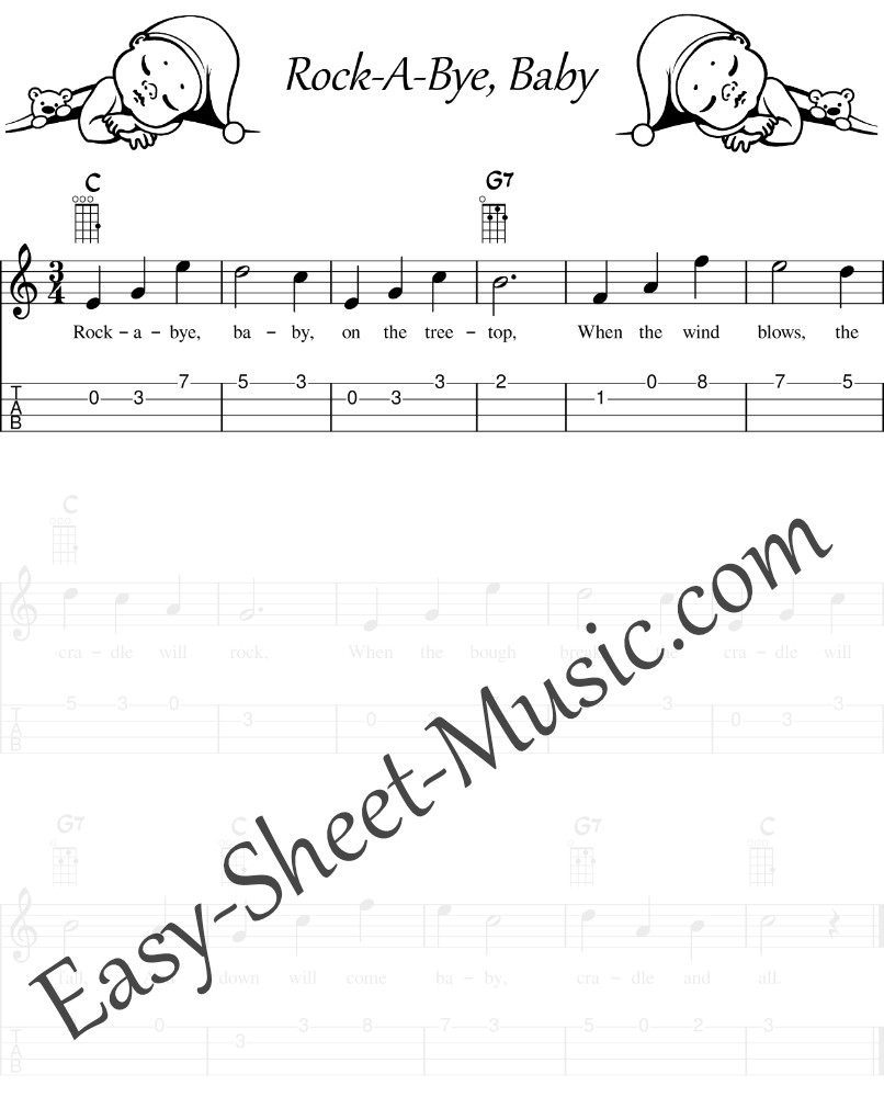 Rock A Bye, Baby - Easy Ukulele Sheet Music With Tabs & Chords For Kids