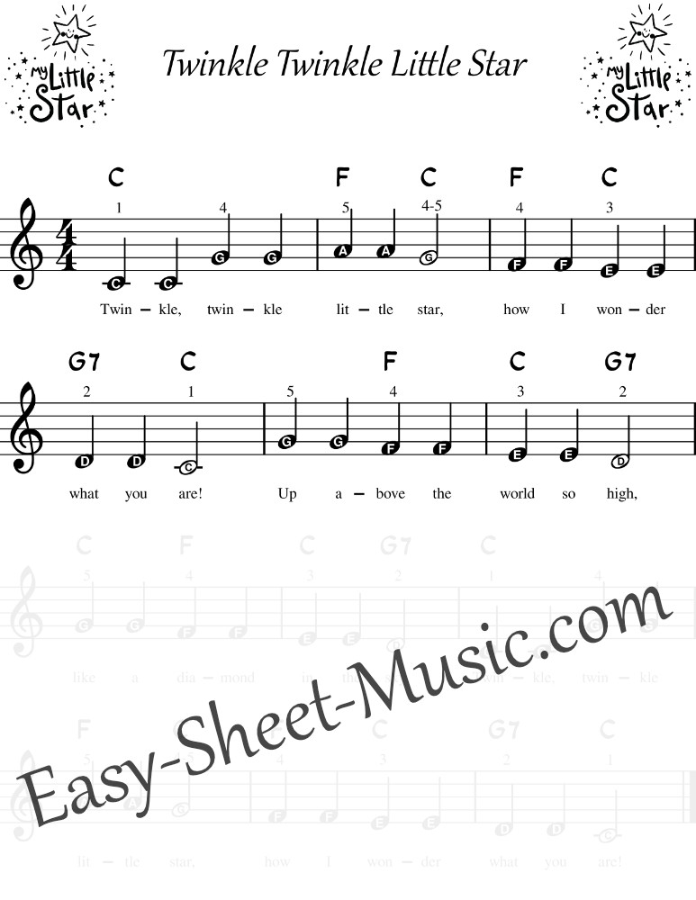 Twinkle Twinkle Little Star - Easy Keyboard Sheet Music With Letters And Chords