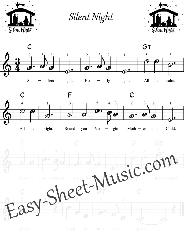 Silent Night - Easy Keyboard Sheet Music With Letters For Beginners