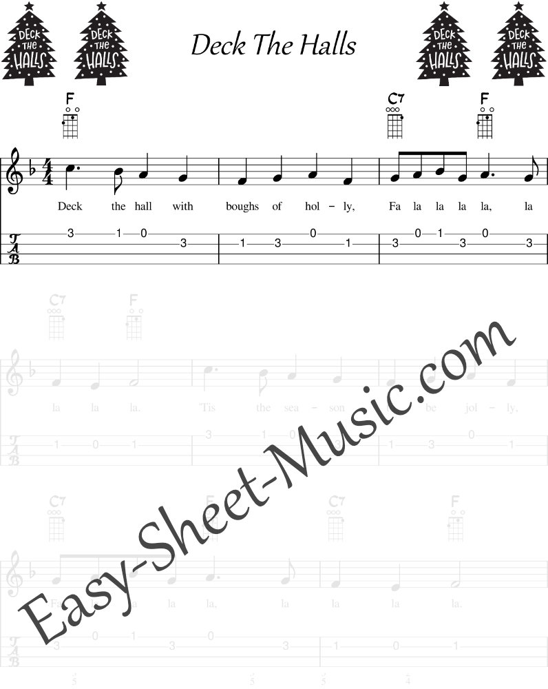 Deck The Halls - Easy Ukulele Sheet Music With Tabs and Chords
