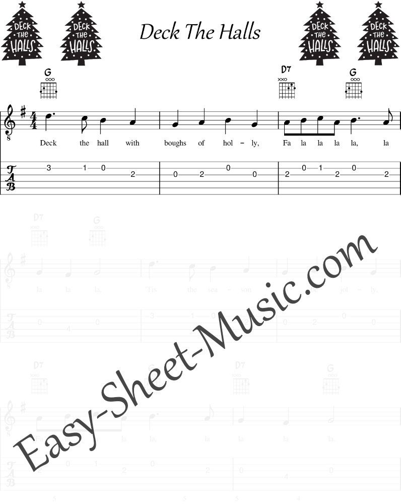 Deck The Halls - Easy Guitar Sheet Music with Tabs & Chords