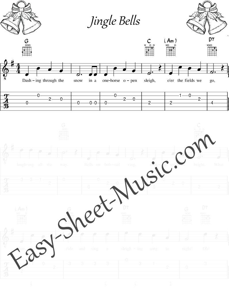 Jingle Bells - Easy Guitar Sheet Music with Tabs & Chords