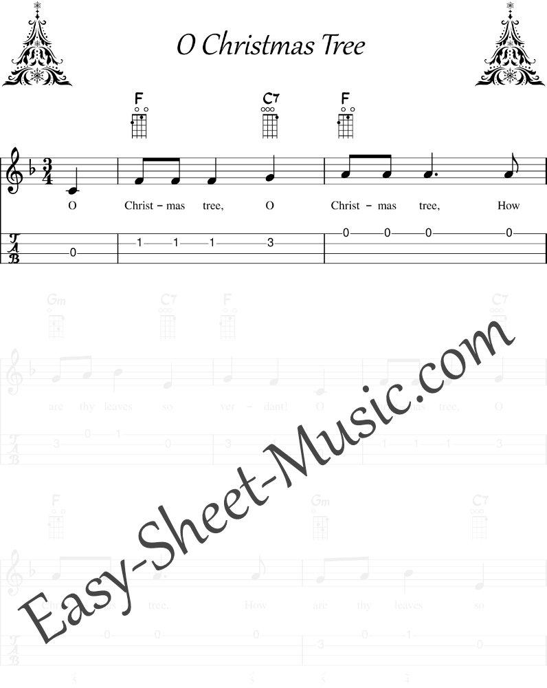 O Christmas Tree - Easy Ukulele Sheet Music with Tabs & Chords