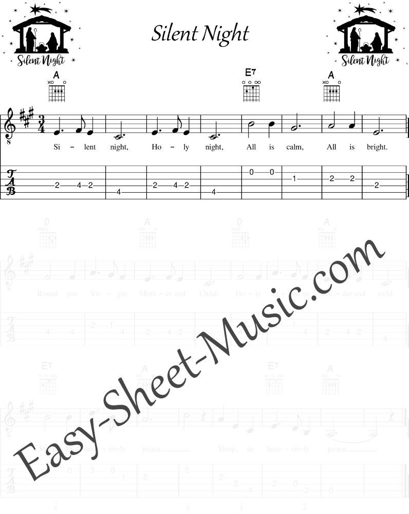 Silent Night - Easy Guitar Sheet Music with Tabs & Chords