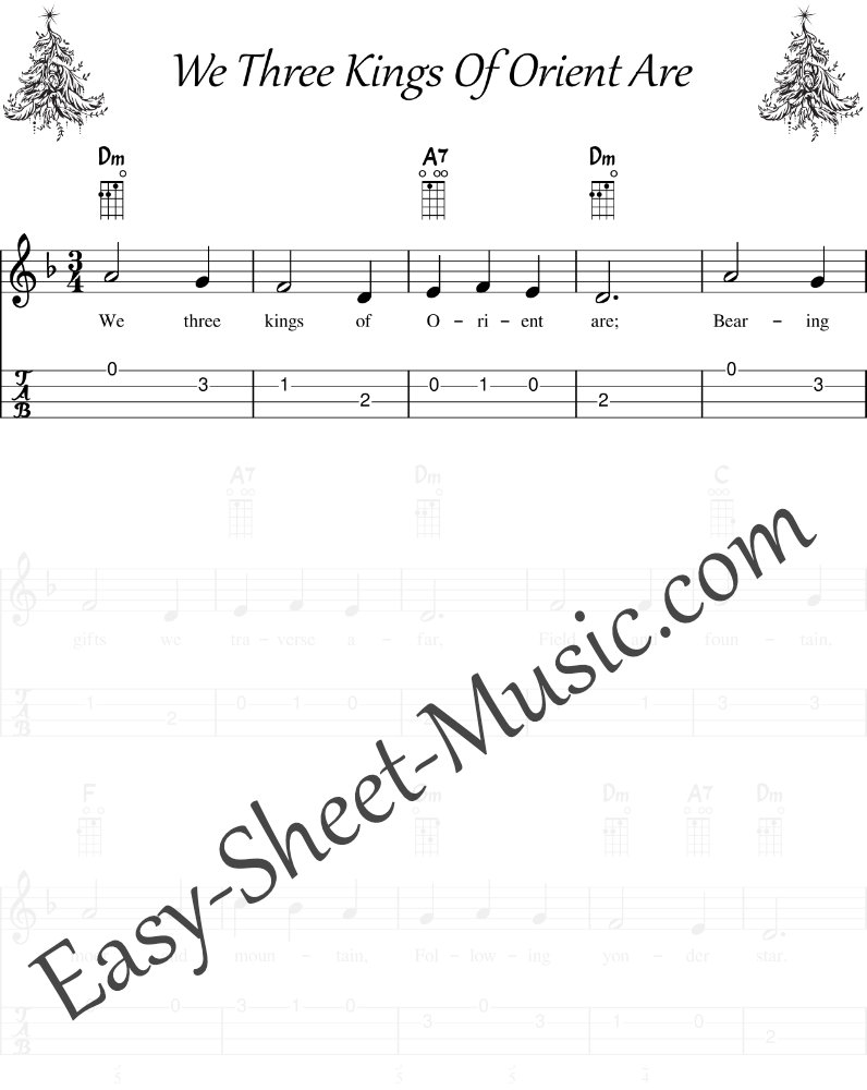 We Three Kings Of Orient Are - Easy Ukulele Sheet Music with Tabs & Chords