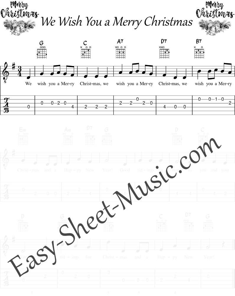 We Wish You a Merry Christmas - Easy Guitar Sheet Music with Tabs & Chords