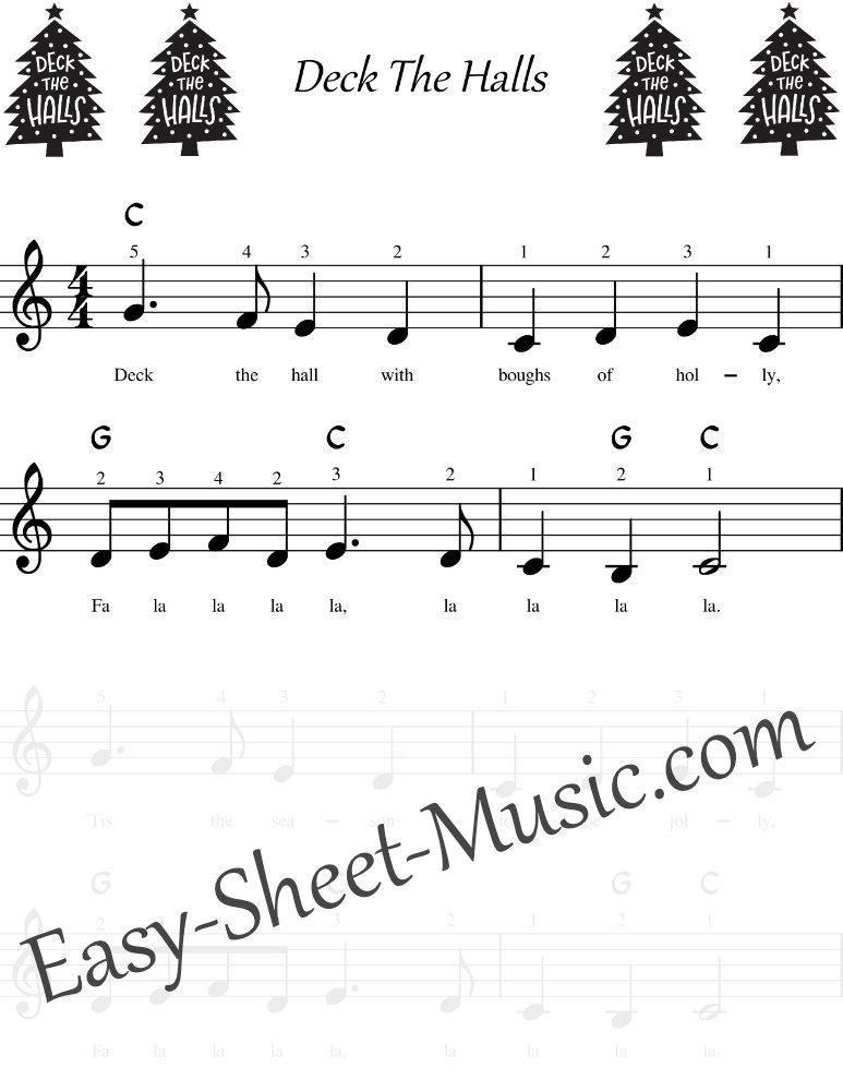 Deck The Halls - Easy Keyboard Sheet Music with Chords & Lyrics