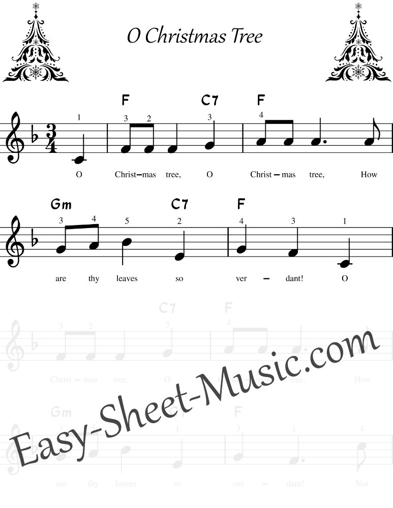 O Christmas Tree - Easy Keyboard Sheet Music with Chords & Lyrics