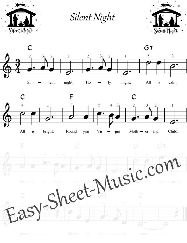 Silent Night - Easy Keyboard Sheet Music with Chords & Lyrics