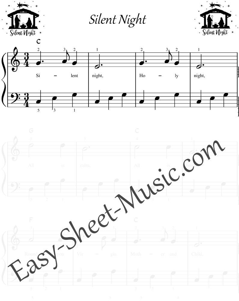 Silent-Night - Easy Piano Sheet Music with Chords & Lyrics